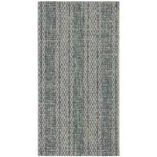 Safavieh Courtyard Nanci Moroccan Indoor/ Outdoor Rug (27 x 5 - Light Grey/Teal)