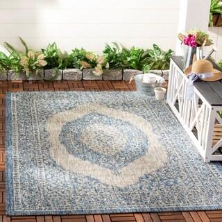Safavieh Courtyard Moroccan Indoor/Outdoor Grey/ Blue Area Rug - 5'3' x 7'7'