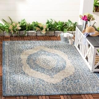Safavieh Courtyard Moroccan Indoor/Outdoor Grey/ Blue Area Rug (6' 7 x 9' 6)