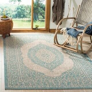 Safavieh Courtyard Moroccan Indoor/Outdoor Grey/ Blue Area Rug (5' 3 x 7' 7)