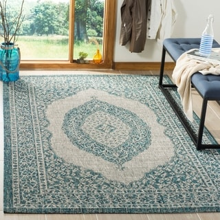 Safavieh Courtyard Moroccan Indoor/Outdoor Grey/ Teal Area Rug (5' 3 x 7' 7)