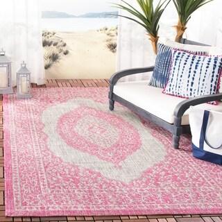 Safavieh Courtyard Moroccan Indoor/Outdoor Grey/ Pink Area Rug (5' 3 x 7' 7)