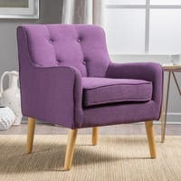 Felicity Mid-Century Button Tufted Fabric Arm Chair by Christopher Knight Home