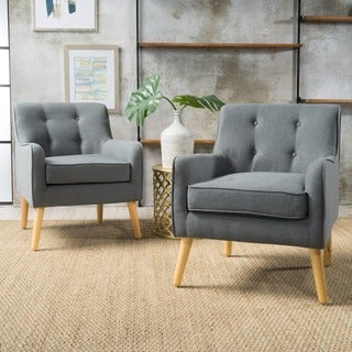 Link to Felicity Mid-Century Button Tufted Fabric Arm Chair (Set of 2) by Christopher Knight Home Similar Items in Accent Chairs