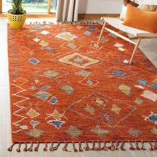Safavieh Kenya Hand-Knotted Red/ Multi Wool Area Rug (6' x 9')