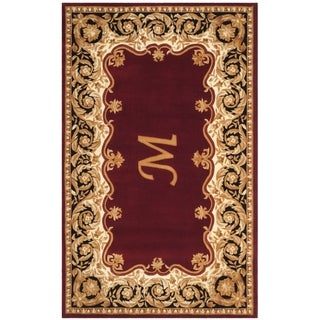 Safavieh Hand-Woven Naples Maroon / Beige Wool Rug (5' x 8')