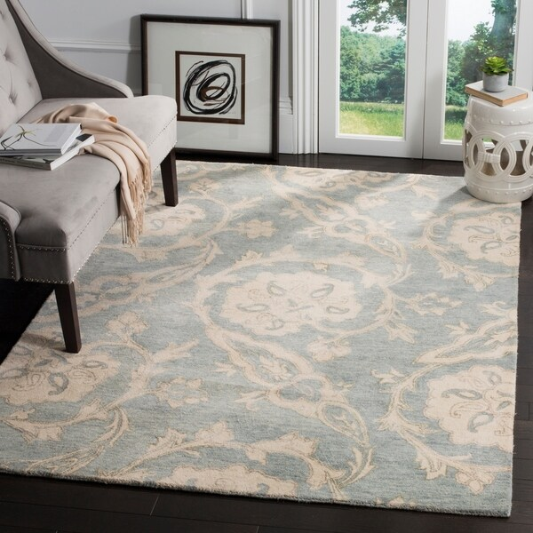 Shop Safavieh Roslyn Hand Tufted Blue Ivory Wool Area Rug 5 X 8