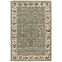 Safavieh Royalty Traditional Handmade Slate / Cream Wool Rug - 6' x 9'