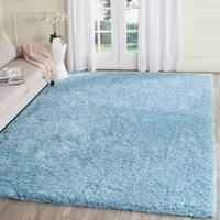 Safavieh Supreme Shag Hand-Tufted Blue Polyester Area Rug - 5' x 8'