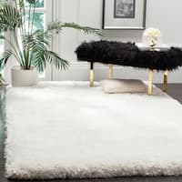 Safavieh Luxe Shag Hand-Tufted Ivory Polyester Area Rug - 6' x 9'