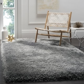 Safavieh Luxe Shag Hand-Tufted Grey Polyester Area Rug (6' x 9')