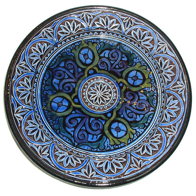 11-inch Blue Engraved Ceramic Plate (Morocco)