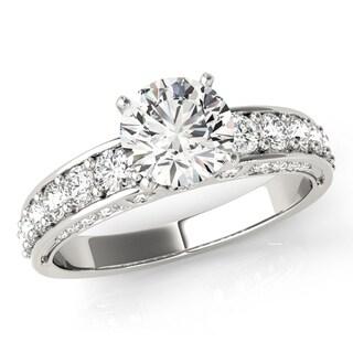 transcendent brilliance graduated sahred prong diamond engagement ring 18k gold 1 12 tdw - Overstock Wedding Rings