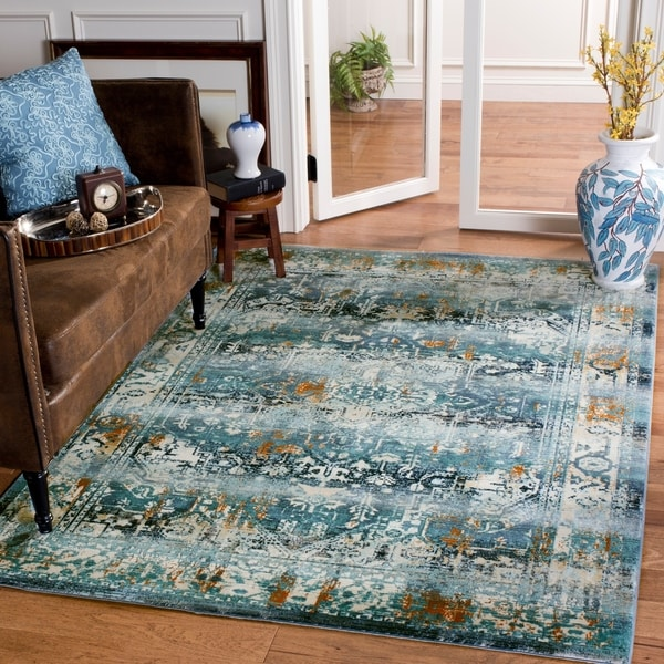Shop Safavieh Baldwin Transitional Teal/ Ivory Area Rug