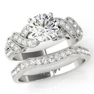 Transcendent Brilliance Criss Cross Diamond Bridal Wedding Set 18k Gold 1 1/2 TDW