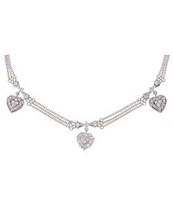 Icz Stonez Sterling Silver CZ Heart and Bow Rolo Link Chain Necklace