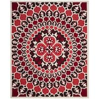 Safavieh Bellagio Contemporary Hand-Tufted Red/ Ivory Wool Area Rug - 8' X 10'