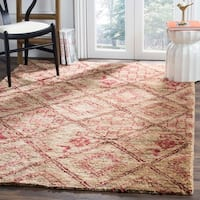 Safavieh Bohemian Transitional Hand-Knotted Natural/ Red Jute Area Rug - 8' x 10'