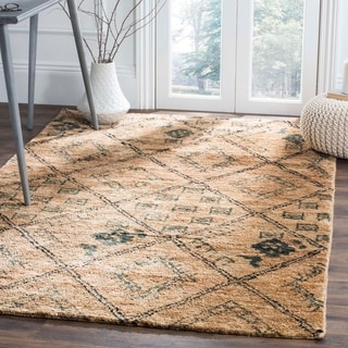 Safavieh Bohemian Transitional Hand-Knotted Natural/ Teal Jute Area Rug (8' x 10')