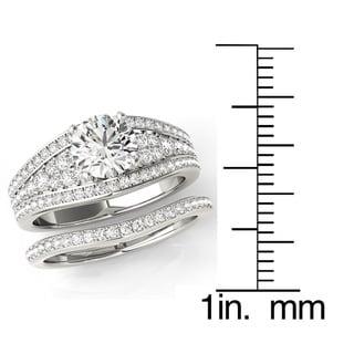 Transcendent Brilliance Graduated Diamond Tapered MultiRow Bridal Wedding Set 18k Gold 1 1/2 TDW