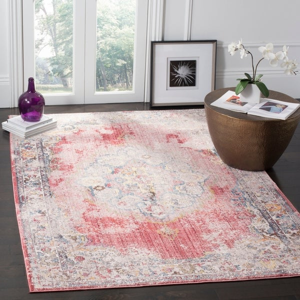 Safavieh Bristol Bohemian Pink/ Grey Polyester Area Rug - 8' x 10'
