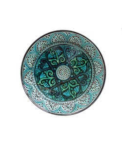 Engraved Turquoise Ceramic Plate (Morocco)