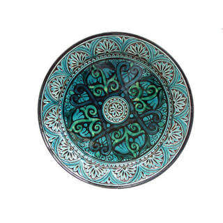 Link to Handmade Engraved Turquoise Ceramic Plate (Morocco) Similar Items in Dinnerware