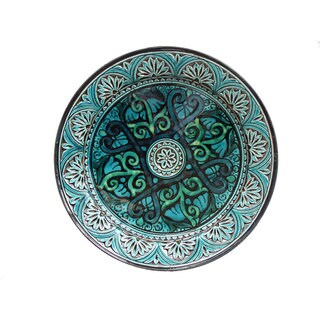 Handmade Engraved Turquoise Ceramic Plate (Morocco)