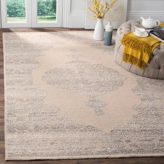 Safavieh Chester Transitional Hand-Knotted Ivory/ Grey Wool Area Rug (9' x 12')