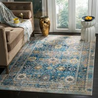 Safavieh Claremont Blue/ Gold Polyester Area Rug (9' x 12')