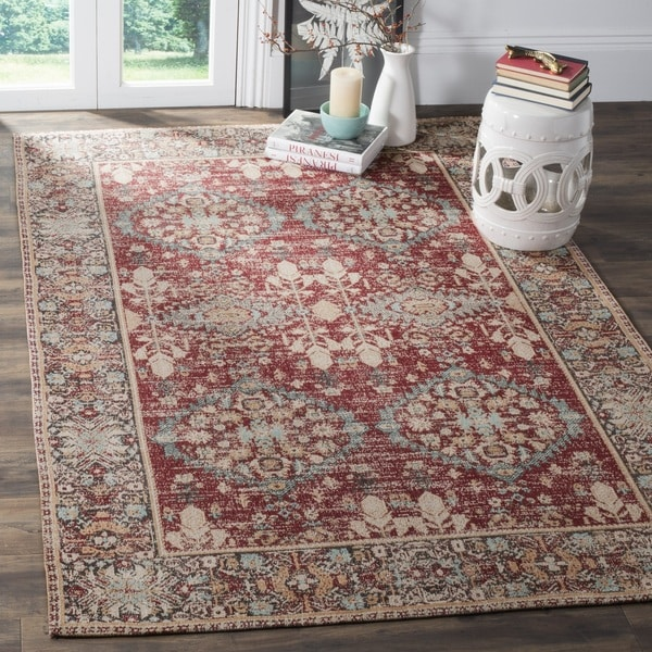 safavieh classic vintage red multi cotton area distressed rug 8 39 x 10 39 free shipping today. Black Bedroom Furniture Sets. Home Design Ideas
