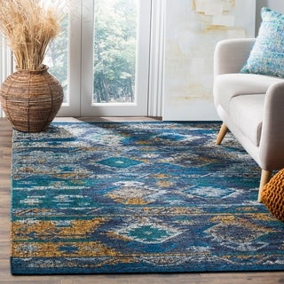 Safavieh Canyon Hand-Woven Blue/ Gold Wool Area Rug (8' x 10')