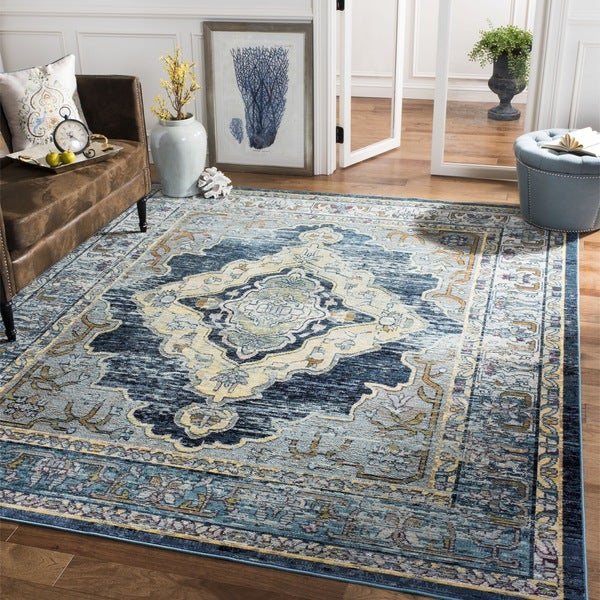 Safavieh Crystal Blue/ Yellow Area Rug (8u0026#x27; ...