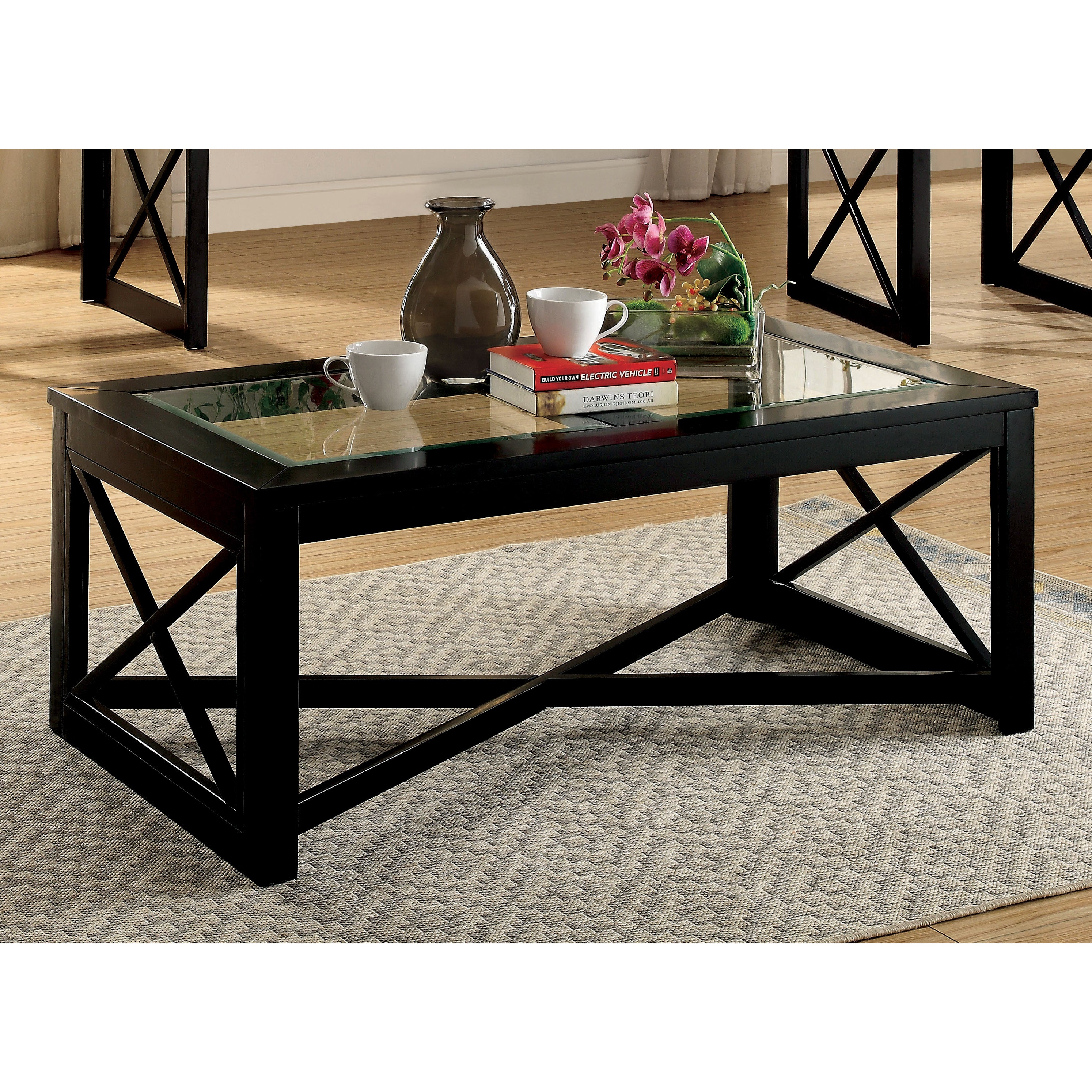 Picture of: Furniture Of America Lai Contemporary Black Solid Wood Coffee Table Overstock 15174548