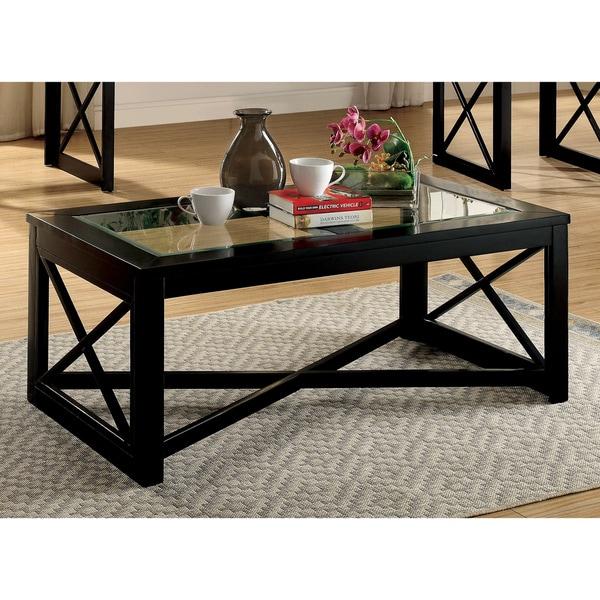Glass Top Coffee Table Walmart: Shop Furniture Of America Peloni Contemporary Glass Top