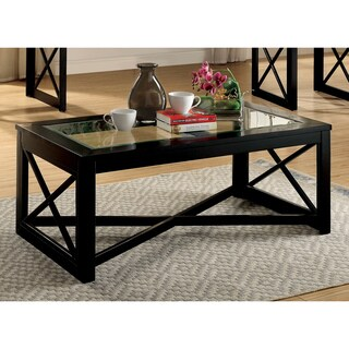 Furniture of America Peloni Contemporary Glass Top Black Coffee Table