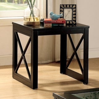 Furniture of America Peloni Contemporary Glass Top Black End Table