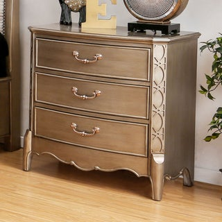 Furniture of America Kerasaw Contemporary Brushed Gold 3-drawer Nightstand