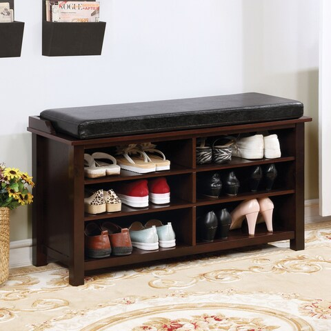 Furniture of America Callim 6-shelf Leatherette Brown Cherry Shoe Rack Bench