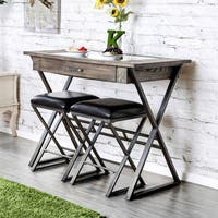 Furniture of America Tactor Industrial 3-piece Weathered Grey Wine Bar Table Set