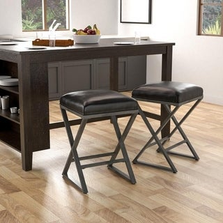 Furniture of America Tactor Industrial Leatherette Weathered Grey Bar Stool (Set of 2)