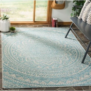 Safavieh Courtyard Moroccan Indoor/Outdoor Grey/ Blue Area Rug (8' x 11')