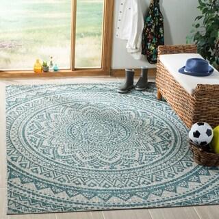 Safavieh Courtyard Moroccan Indoor/Outdoor Grey/ Teal Area Rug (8' x 11')