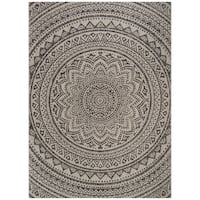Safavieh Courtyard Floral Mandala Indoor/ Outdoor Grey/ Black Area Rug - 8' x 11'