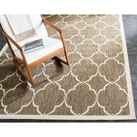 Safavieh Courtyard Moroccan Indoor/Outdoor Cream/ Brown Area Rug - 8' x 10'