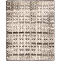 Safavieh Dhurries Hand-Woven Brown/ Ivory Silk Area Rug - 8' x 10'