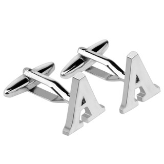 Zodaca Mens Formal Silver Copper Alphabet A Cufflinks for Wedding/ Meeting/ Work