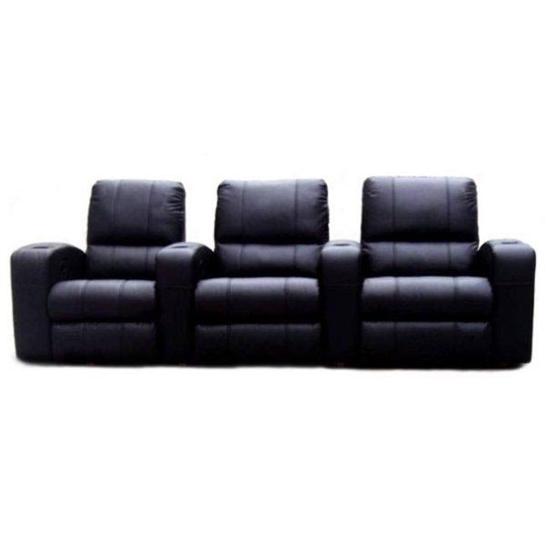 Shop Black Leather 3 Seat Recliner Home Theater Seating