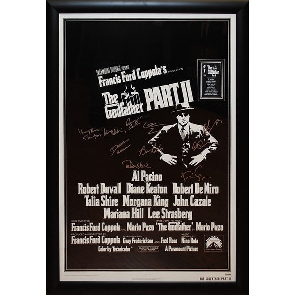 Cast-signed 'Godfather Part II' Black and White Framed Movie Poster