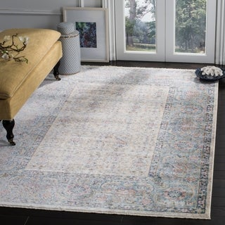 Safavieh Illusion Cream/ Blue Viscose Area Rug (8' x 10')